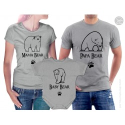 Mama Bear, Papa Bear and Baby Bear Matching t shirts and onesie