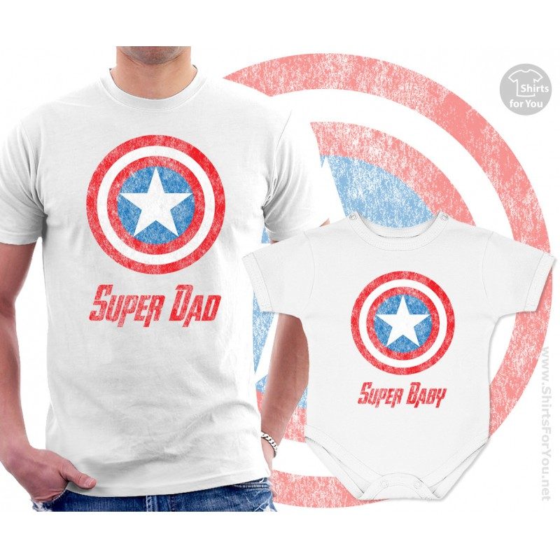 Captain America Super Dad And Super Baby Matching T Shirt And Onesie