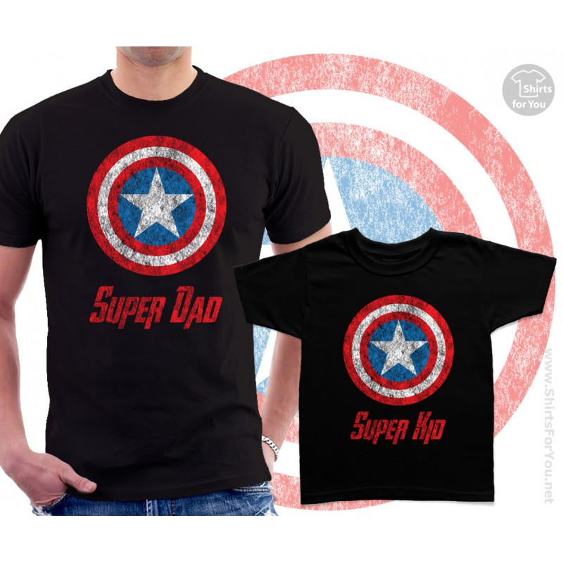 Captain America Super Dad and Super Kid Matching T Shirts
