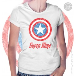 Captain America Super Mom Womens T-Shirt