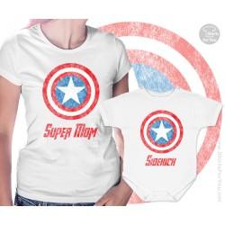 Captain America Super Mom and Sidekick Matching T-Shirt and Onesie
