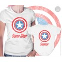 Captain America Super Mom and Sidekick Matching T-Shirt and Onesie