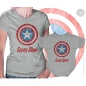 Captain America Super Mom and Super Baby Matching T-Shirt and Onesie